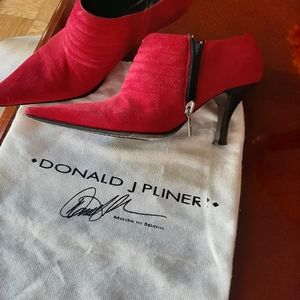 Red Suede leather ankle boots by Donald J Pliner